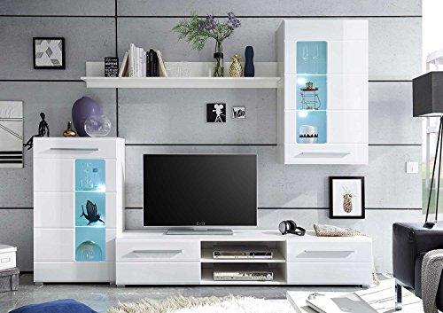Wohnwand Anbauwand Wohnzimmerschrank 4-tlg. ELLA | Weiß Hochglanz | Verglasung - 3