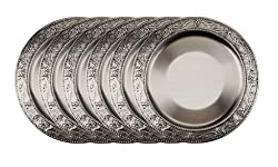 Old Dutch Embossed Victoria Charger Plates, 13-Inch, Antique Pewter, Set of 6