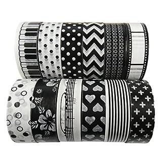 AUFODARA 5pcs Mix Designs Washi Masking Tape DIY - Each Tape 10m x 15mm