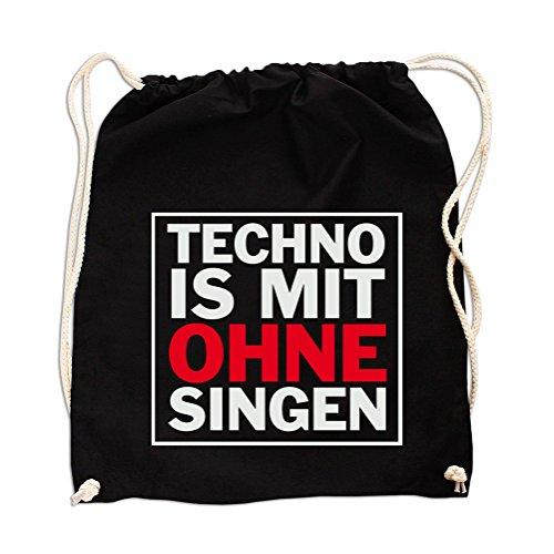 Techno is mit ohne Singen Gym Bag Black - Bier Hoodie-beutel