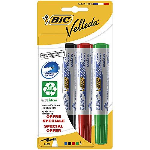 bic-velleda-1741-pack-de-4-marqueurs-effacable-a-sec-pointe-ogive-couleurs-assorties