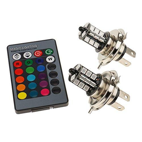Shiwaki Lampade Faro Auto Anti Nebbia Telecomando 27 SMD 5050 Nebbia Multicolore RGB - Multicolore H4