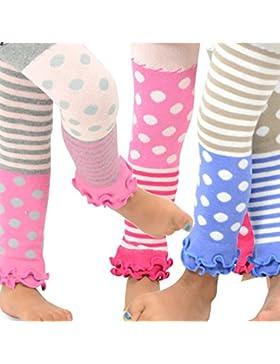 Naartjie Mädchen Baumwolle Legging - Streifen mit Punkten und Rüschen unten, Rosa, Heather Grey, Ivory