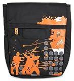 Schwarz-Orangefarbene Umhängetasche | Etui | Case | Schutzhülle | Transporttasche mit bequemen Schulterriemen, wasserabweisendes Material, verschiedene Fächer, für Aldi Medion LifeTab E10501, LifeTab P10505, Lifetab S10326 (MD 99644) | Lifetab S10352 | Lifetab S10365 (MD 99891) Tablets