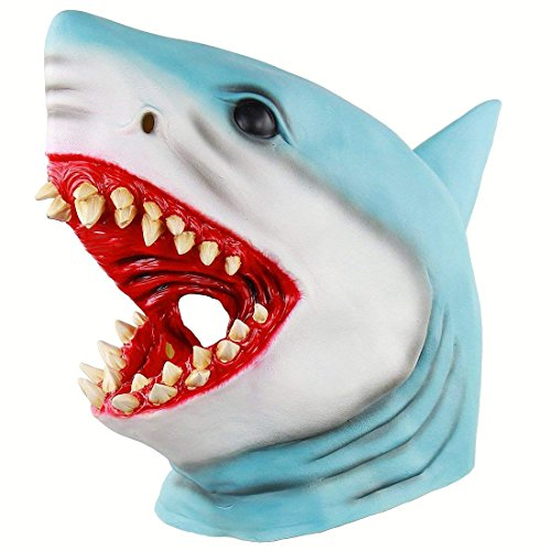 BONA Adult Shark Latex Full Face Mask Sea Animal Halloween Fancy Dress Costume Outfit Accessory