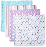One Size , Birdie : Gerber Baby Girls' 4 Pack Flannel Receiving Blanket