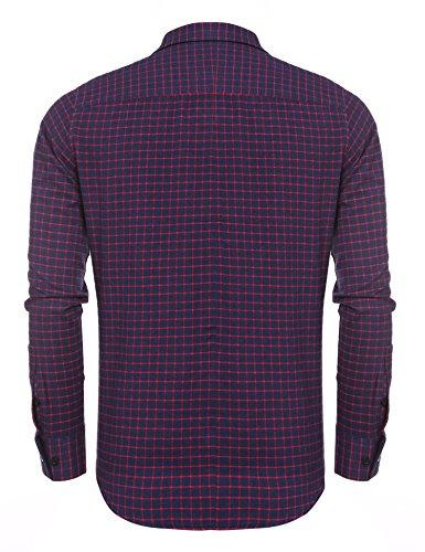 Coofandy Herren Hemd Kariert Cargohemd Trachtenhemd Baumwolle Freizeit Regular Fit 588-Rot