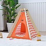 MEIQI Pet Teepee House Tentes Indiennes En Bois Toile Tipi Fold Away Tentes Pour Animaux En Tissu Lit Pour Chat,Orange