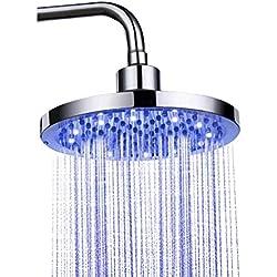 """Pommeau de douche de lumière de RVB LED - la température contrôlée par l'eau de chrome a changé la tête de douche de 4-LED, 8""""pouces pluie ronde de salle de bains de lampe de douche d'acier inoxydabl"""
