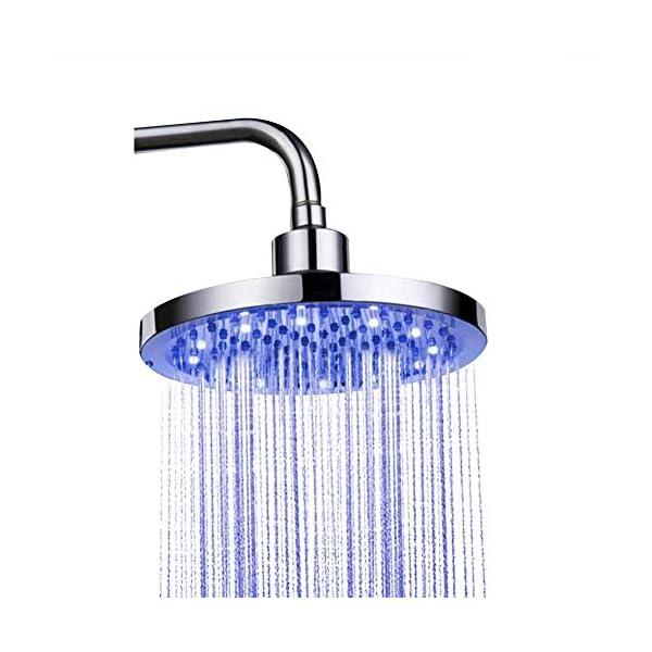 Alcachofa Ducha LED, Cabezal de Ducha de Acero Inoxidable Universal Alcachofa Ducha Lluvia 8 Pulgadas LED 3 Colores