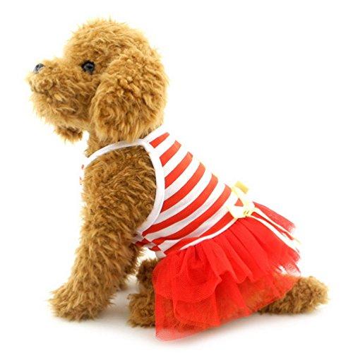 selmai gestreift Hund Tutu Kleid Schleife Gaze abgestuftes Princess Puppy Rock Party Kleid Beach Travel weiblich Hund Kleidung (Rote Pudel Rock Kostüm)