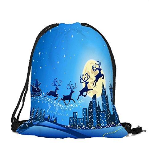 Longra Sacchetto del Drawstring della tasca del pacchetto del Babbo Natale del poliestere del tema del tema di Natale E