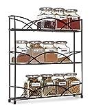 Livivo® Gewürzregal, freistehend, 3Ebenen, Gewürz- und Kräuter-Regal–Arbeitsplatte, Tisch, Regal, Platz für bis zu 21Gläser und Fläschchen–Universal-Größe, passend für die meisten Marken–rutschfeste Gummifüße Schwarz