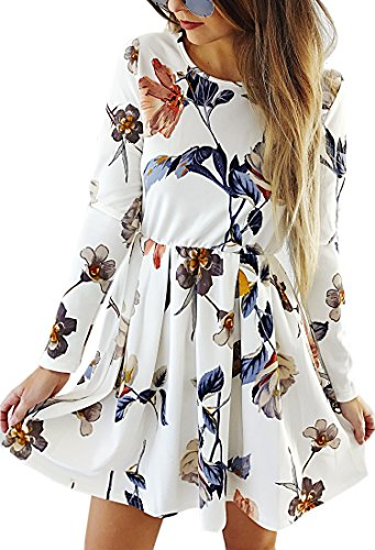 Angashion Damen Langarm Kleid A-line Knielang Blumen Herbst Kleid Retro-Look Abendkleid Casualkleid Partykleid Weiß L