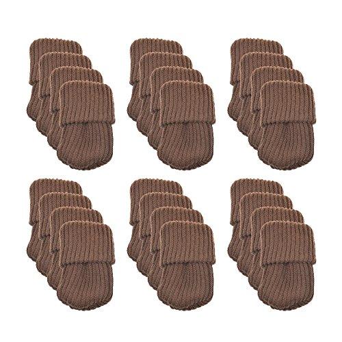 Meta-U® 24pcs stricken Möbel Wollsocken - Stuhl Bein Floor Protector-Pads (Kaffee)