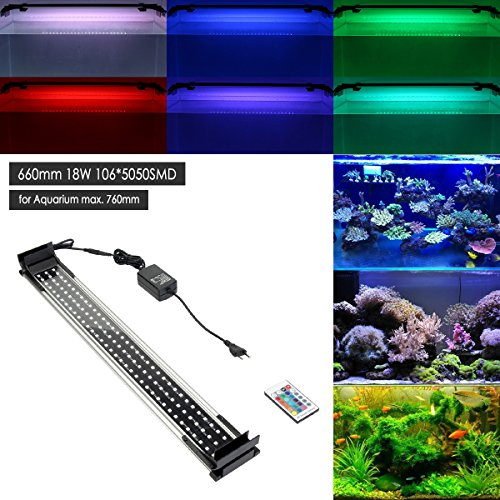 GreenSun Aquarium Beleuchtung LED RGB Aquariumlampen Aufsetzleuchte Aquariumlicht Aquariumleuchten Alulegierung mit 24 Tasten Fernbedienung für Fisch Tank EU Stecker (Tank Taste)