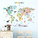 Decowall DLT-1615 Animal World Map Kids Wall Stickers Wall Decals Peel and Stick Removable Wall Stickers for Kids Nursery Bedroom Living Room (Xlarge)