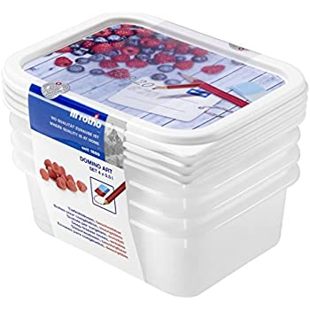 Rotho Domino 4er Set Vorratsdosen, Kunststoff (BPA-frei
