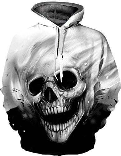 Nawoshow Herren 3D Druck Kapuzenpullover Cartoon Sweatshirt Weihnachten Langarm Top Shirt Herbst Spaß Hoodie (Small/Medium, Skull Head)