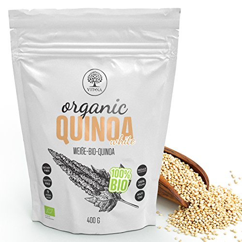 VITNA Organic Quinoa White Weiße-Bio-Quinoa 400 g, Quinoasamen, 100 % Vegan, 100 % Bio-Superfood, reich an Antioxidantien, glutenfrei
