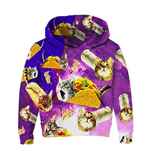 RAISEVERN Frühling Herbst Winter Teenager Langarm 3D Pullover Hoodies mit Pizza Katzen Print Sweatshirts Outfits für Jungen Mädchen Freizeitkleidung