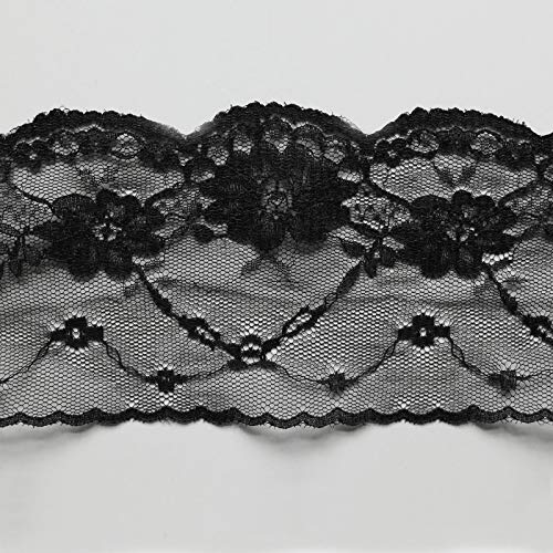 Fine bordure en dentelle douce, délicate, élégante - Largeur de 80 mm - Vendu au mètre, Polyamide, noir, 80mm wide