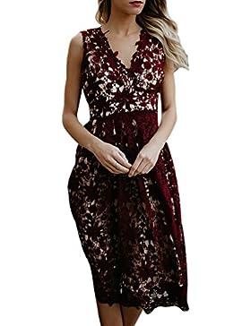 YiLianDa Vestiti Donna Senza Maniche di Tulle Abito Eleganti Corti da Cermonia Pizzo Sera