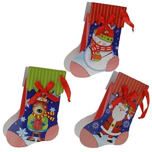 3Weihnachtsstrumpf Form Geschenktüten Weihnachten, Design Santa Schneemann & Rentier (Spinner-rad-gepäck)