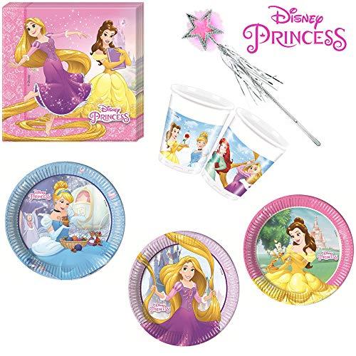 Disney Prinzessin Tischgeschirr Geschirr-Set 37-teilig Servietten Pappteller Plastikbecher Zauberstab Kindergeburtstag Partygeschirr 8 Kinder
