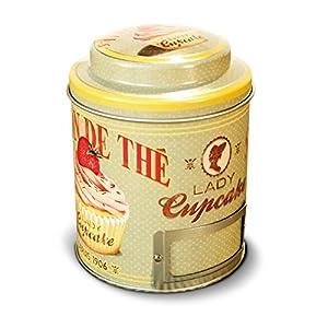 NATIVES 211148 Lady cupcake Boîte à thé Métal Multicolore 9 x 9 x 11,5 cm