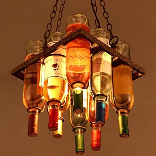 Kronleuchter Vintage-industrieller Art Pendelleuchte Schmiedeeisen - Wein-Flaschen-Dachboden-Restaurant-Stab-Café-Esstisch-Bartheke-Hängeleuchte Antik Retro Dekorative Pendellampe Hängelampe E27 - Wein Antik