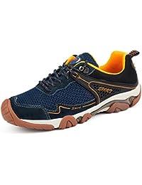 UBFen Hombre Zapatillas de Senderismo Deportivas Aire Libre y Deportes Montaña y Asfalto Zapatos para Correr Running Malla Transpirable Casuales Marrón Azul