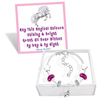 Girls Magical Unicorn White Leather Charm Bracelet Set with Greeting Card and Gift Box Kids Jewellery (Fuchsia Pink)