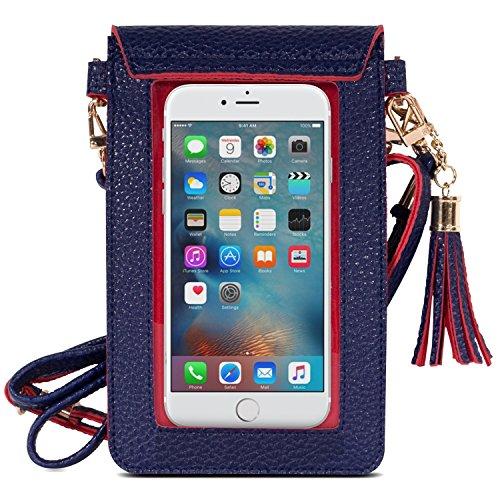 MoKo Touchscreen Handy Tasche Hülle - 2-in-1 PU Leder Wasserdichte Handtasche Schultertasche mit Straps für iPhone 8 / 7 Plus / 7 / 6s / Galaxy S8 / S8 Plus / S7 Edge, Smartphone bis zu 5.5 Zoll, Schw Marineblau/Rot