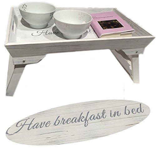 LS Design Frühstückstablett Bett Tisch Tablett Serviertablett Holz klappbar Shabby Vintage