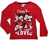 Minnie Mouse Kollektion 2017 Langarmshirt 86 92 98 104 110 116 122 128 Mädchen Shirt Top Maus Mickey Mouse (110-116, Rot)