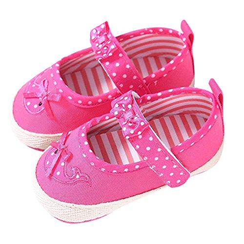 MiyaSudy Neugeborenen Babyschuhe Baby Mädchen Polka Dots Bogen Anti-Rutsch Weiche Sohle Schuhe Erste Wanderer Mokassins 0-18 Monate Pink