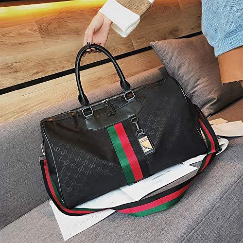 WOAIRAN Weibliche Umhängetasche Damenmode Vintage Streifen Handtasche Messenger Bags Damen Einfache Freizeit Große Kapazität Reise Crossbody Tasche Schwarz