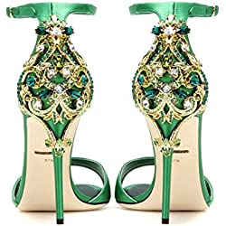 Stiletto Sandalen Sommer Diamond Ultra High Heels, siebenunddreißig, grün