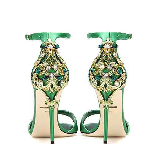 Stiletto Sandalen Sommer Diamond Ultra High Heels Green