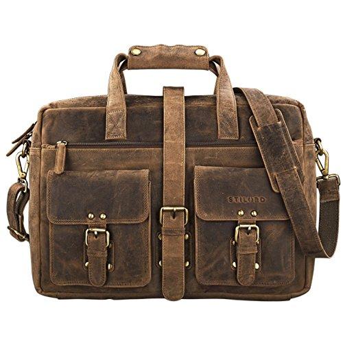STILORD 'Michael' Lehrertasche Leder Vintage Leder Laptoptasche 15,6 Zoll groß Büro Uni Herren Damen Rindsleder, Farbe:schwarz mittel - braun