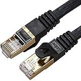 Veetop® cable ethernet cat7 (50M, Negro) alta velocidad, diseño plano rj45, Lan, red, internet o patch - Chapado en oro - El lujo es tuyo