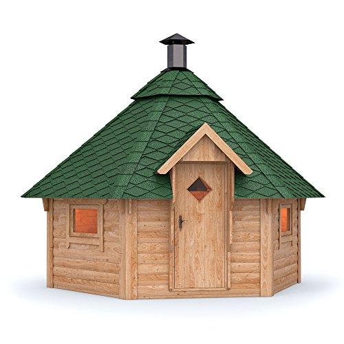 Grillkota Pavillon Dacheindeckung wählbar inkl. Grillanlage ca. 9m² (Grüne Schindel)