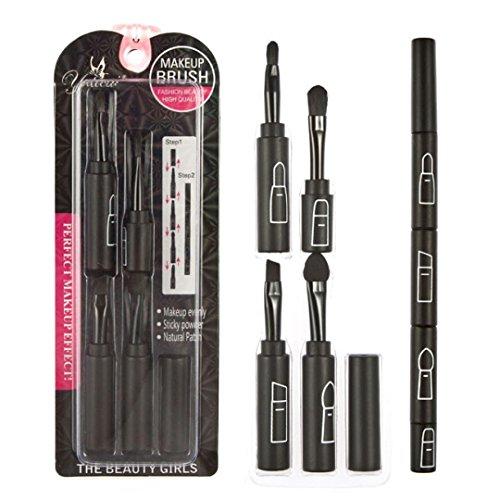 Ouneed® Multi-fonction de maquillage de pliage brosse top quatre ensembles de brosses professionnelles (noir, 17.5\\