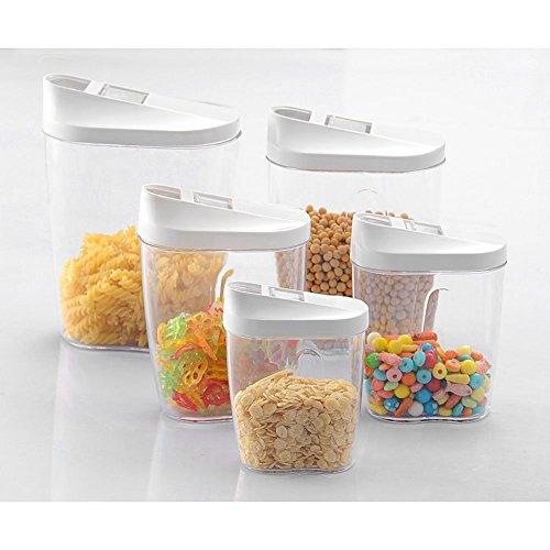VanseRun 5-teilig Kunststoff Lagerung Gläser Kanister Set, Behälter Vorratsdose Keeper Körner Versiegelt Dosen verdeckt Getreide Behälter, für Zucker, Tee, Kaffee, Snacks