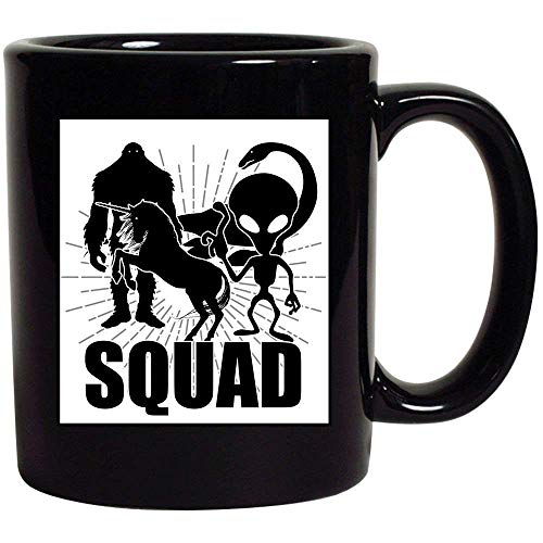 12 Oz White Foam Cups (WYYCLD Halloween Squad Alien Bigfoot Unicorn Loch Ness Monster Funny Squad Matching for Kids Friends Women Men 11oz Ceramic Mug Cup for Coffee Tea Milk Hot Chocolate (Black))