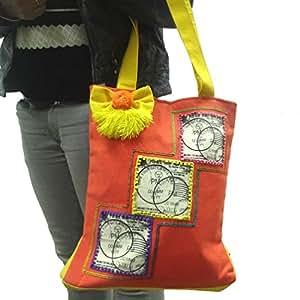 Accessoires indien sac fourre-tout à la mode épaule slogan imprimé sac filet toile de travail d'orange épousant la collection de sac à main de sac de shopping cadeaux