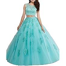 XUYUDITA Vestido largo de encaje de dos piezas Rhinestones Quinceanera vestidos de baile