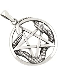 Pentagrama y serpiente colgante de plata 925