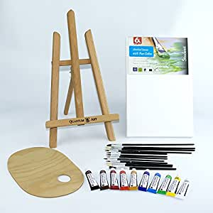 25 pcs Set 16 Easel, 20x30cm canvas A4, Watercolour Paints 10x12ml, 12 Brushes, Pelette - Painting Kit by Quantum Art